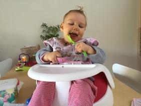 Chiara holding spoon